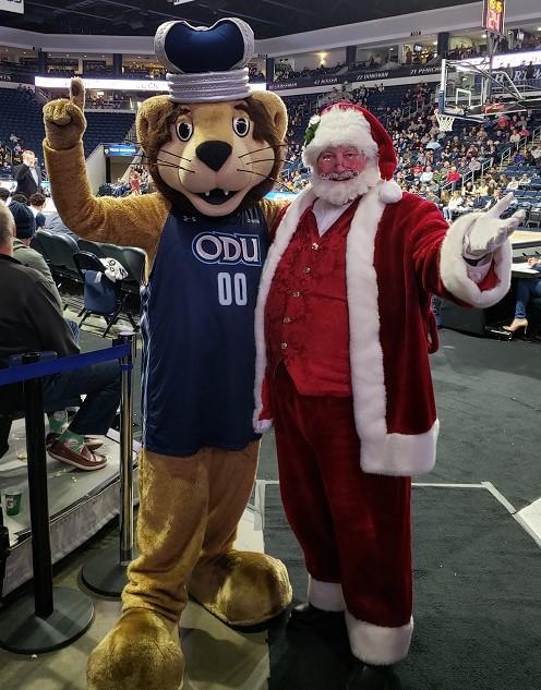Old Dominion University's Santa Claus Santa Earland Big Blue