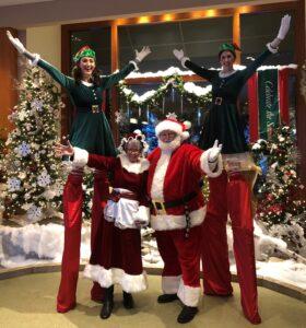 Santa Earl and tall elves
