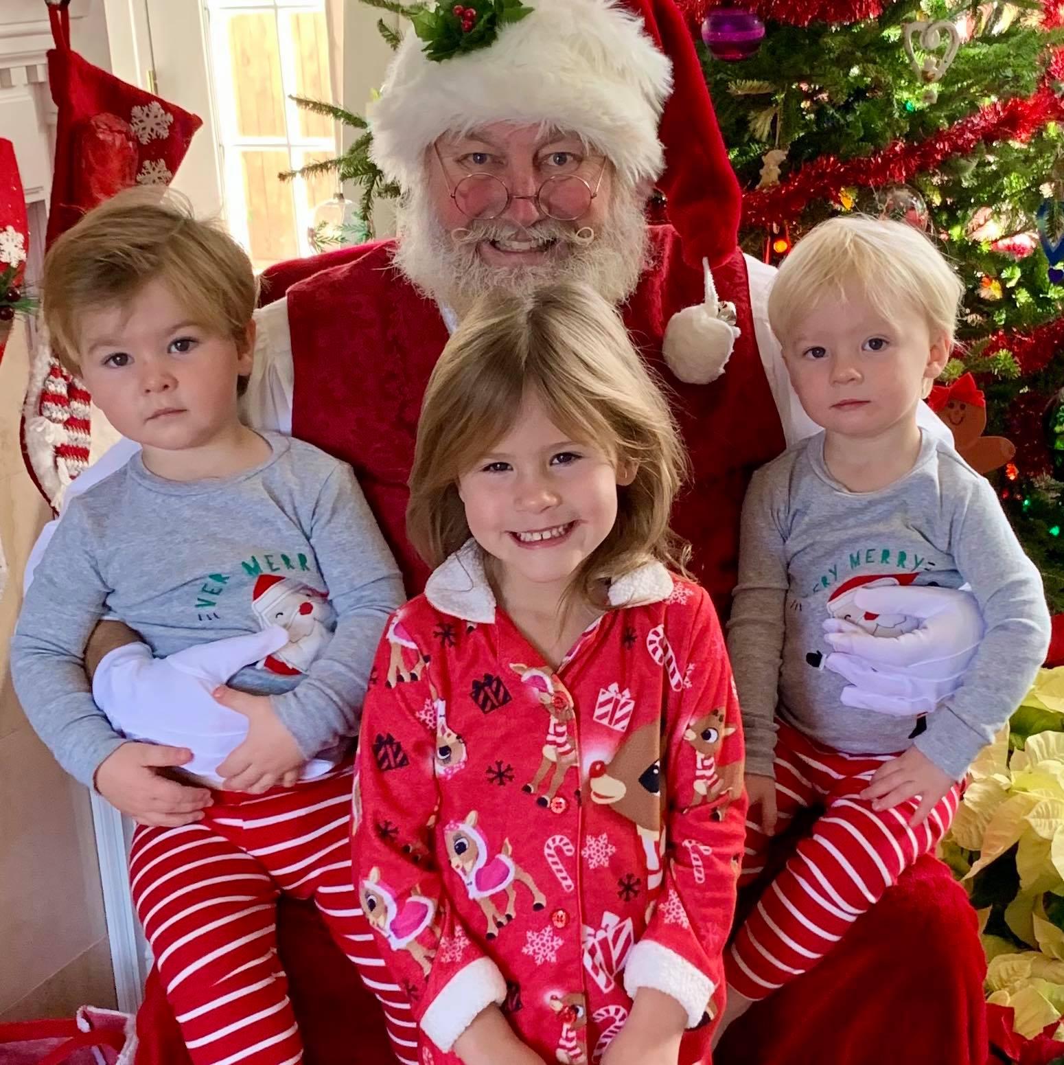 Santa and 3 kids